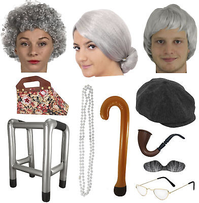 Granny Grandad Fancy Dress Old Person Man Woman Costume Accessories Hen Lot