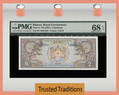 Tt Pk 6 1981 Bhutan Royal Government 2 Ngultrum Pmg 68 Epq Superb Finest Known!