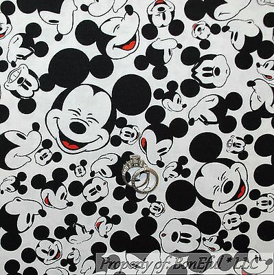 BonEful Fabric FQ White Black B&W Red DISNEY World Mickey Mouse Face Cartoon VTG