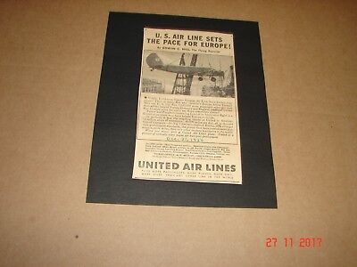 1934 United Air Lines,  Ad, Advertisement