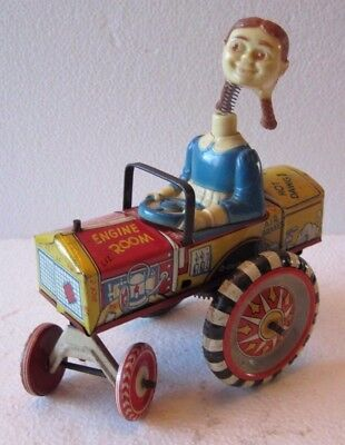 Vintage Marx Tin Litho Wind Up Toy Car Queen Of Campus 1940's/50's Girl Driver