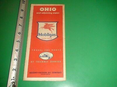 JE299 Vintage 1940's Mobil Gas Map of Ohio OH