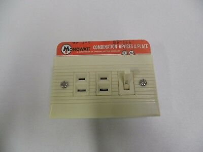 UNUSED Vtg GE MONOWATT Combination Triple Outlet Receptacle Switch & Cover (A5)