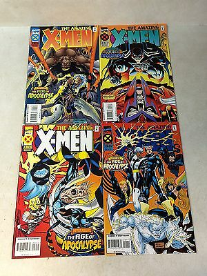 AMAZING X-MEN #1,2,3,4 full set MAGNETO,KUBERT, AGE APOCALYPSE, 1995, 1ST PRINTS