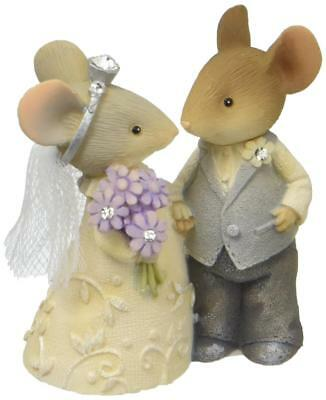 Tails with Heart Mouse Mice Bride & Groom Wedding Couple Figurine Cake Topper