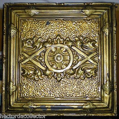 Gorgeous Gold Antique Victorian Nouveau Ceiling Tin Tile Chic Framed Wall Art