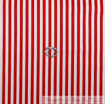 BonEful Fabric FQ Cotton Quilt Red White Xmas Holiday Candy Cane 1/4 Stripe Baby
