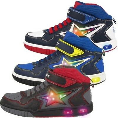 J Gs A Chaussures GEOX LED NOIR GREGG ROUGE BASKETS MONTANTES 4A3LRj5