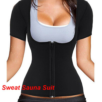 US Sports Neoprene Sauna Vest with Sleeves Gym Hot Sweat Suit Weight Loss Corset