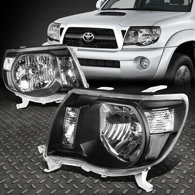 For 2005-2011 Toyota Tacoma Pickup Black Housing Clear Side Headlight/lamp Set