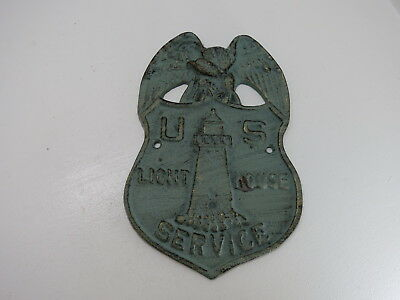 Cast Iron Light House Service Marker Sign Tarnished Brass Look Nautical Maritime