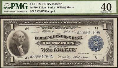 LARGE 1918 $1 DOLLAR BILL BOSTON FRBN BANK NOTE NATIONAL CURRENCY Fr 710 PMG 40