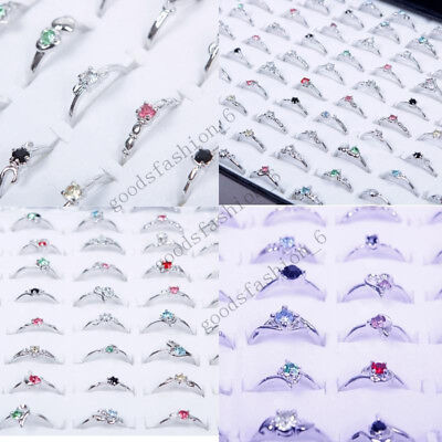 New Woman Wholesale Lots 30pcs Rhinestone Assorted Silver Plated Ring Hot