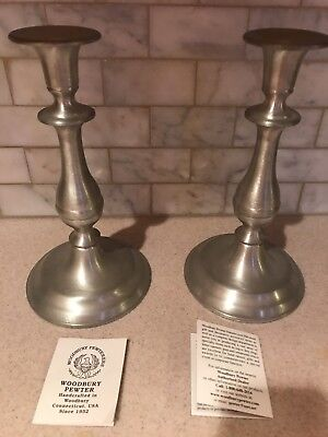 Preowned Pair Woodbury Pewter Candle Holder Candlesticks  9.75""