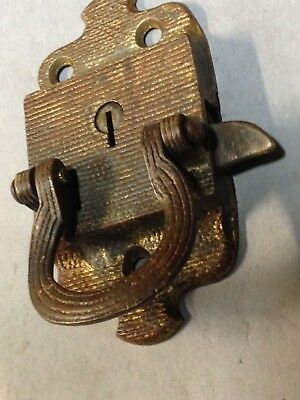 Antique Vintage Cast Brass Ice Box Ornate Latch Lock Part