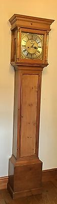 Antique Pine  Brass Face Longcase Grandfather Clock  William Stephens Godalming