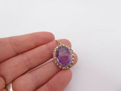 Fine 14ct / 14k 585 gold and 12 carat amethyst seedpearl Victorian pendant