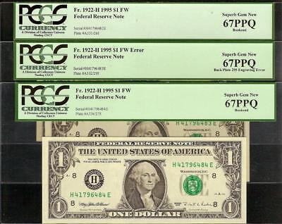 3 Superb 1995 $1 Dollar Bills 295 Back Plate Error Note And Bookends Pcgs 67 Ppq