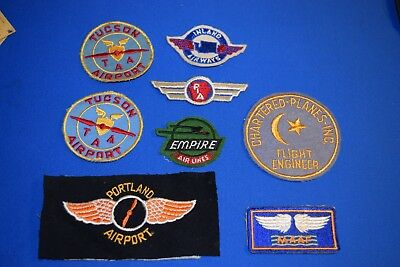 VINTAGE OLD  AIRPORT PATCH LOT of 8 patches