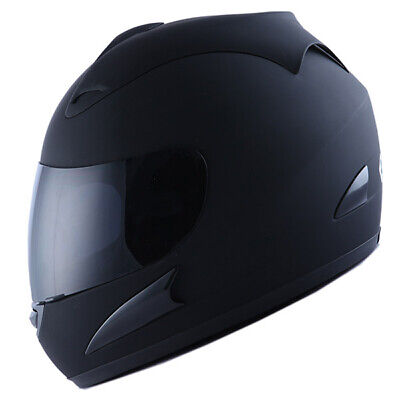 New Wow Dot Motorcycle Full Face Helmet Matt Black + Two Visors:smoked & Tinted