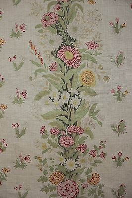Vintage French daybed cover day bed ruffled fabric c 1930's cottage floral