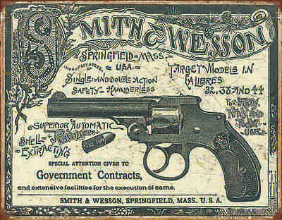 """TIN SIGN """"Smith & Wesson-1892 Gov. Contracts """"  Hunting  Lodge Cabin METAL WALL"""