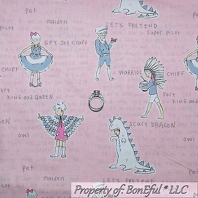 BonEful Fabric FQ Cotton Quilt VTG Pink White Gray Princess Girl Owl Word Dragon