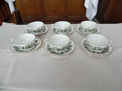 Royal Worcester Set of Six Cream Soup Cups and Saucers - Lavinia