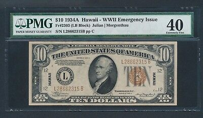 1934A $10 Hawaii Note PMG EXTREMELY FINE 40