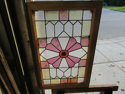 ~ Antique American Stained Glass Window ~ 22 X 34 ~ Architectural Salvage ~