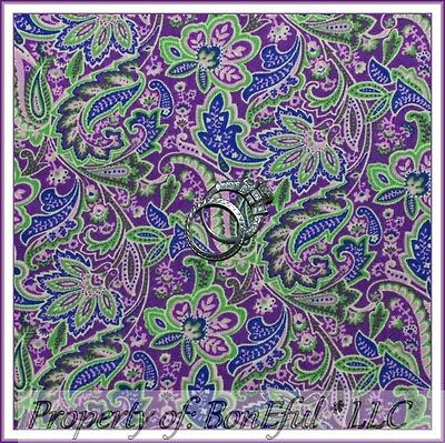 BonEful Fabric FQ Cotton Quilt VTG Purple Light Pink Green Paisley Flower Calico
