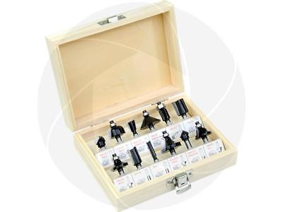12Pcs 1/4in Router Bit Set Shank Tungsten Carbide Rotary Tool with Wood Case Box