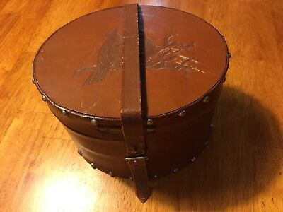 Vtg Leather Hat Box Brown miniature salesman sample