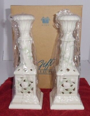 "AVON GIFT COLLECTION  Bisque Porcelain Candle Holders Tea Light 9"" NIB"