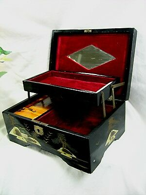 Antique Japanese Jewellery Music Box Lacquered Mother Of Pearl Inlay Working Old