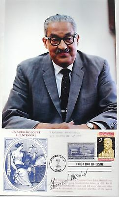 Associate Justice Thurgood Marshall Signed Card Served 1967-1991 Supreme Court