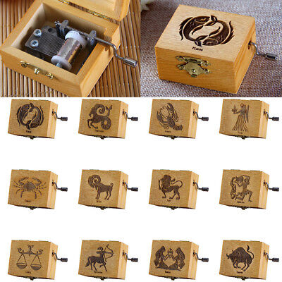 12 Constellations Hand Crank Wood Music Box Xmas Gift of Music Castle in the Sky