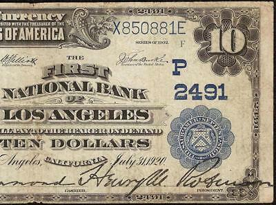Large 1902 $10 Dollar Bill Los Angeles National Bank Note Currency Paper Money