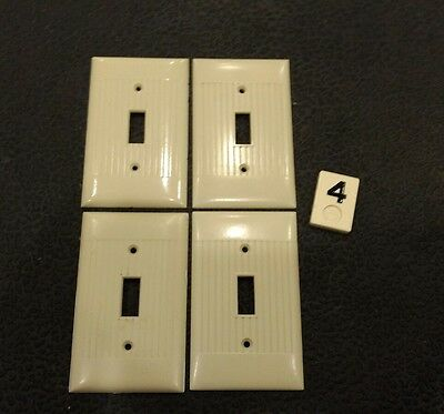 4 Ivory Vintage Bakelite Ribbed Deco Single Gang Sierra Switch Plate Covers B4