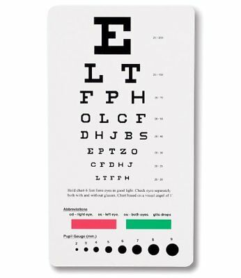 Prestige Medical 3909 Snellen Pocket Eye Chart Examination Supplies Consumables