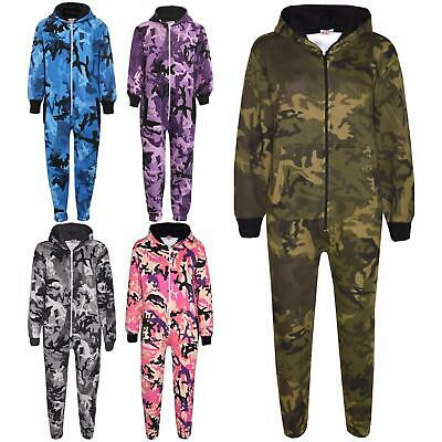 Girls Boys Fleece Camouflage A2Z Onesie One Piece Kids All In One Jumpsuit 5-13Y