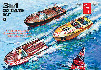 Customizing Boat 3 in 1 Boot + Anhänger 1:25 AMT Model Kit Bausatz AMT1056