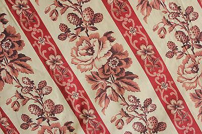 Antique French fabric panel ~ c1860 ~ madder brown / red printed cotton 92X71