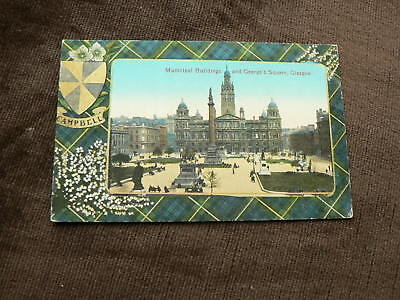 Old Glasgow Postcard, Municipal Buildings + George's Sq., Campbell Tartan Border