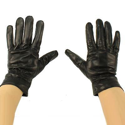Men's Winter 3M Thinsulate Lined Soft Genuine Leather Elastic Wrist Gloves Black