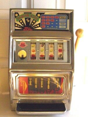 1982 Waco Large Slot Machine Bank 1Cent To 1/2 Dollar 4 Reel Works Great W/sound