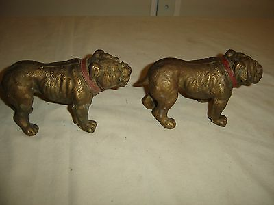 Pair Antique Bronze Bull Dog Bookends w/ red collar Great detail & patina. 9839