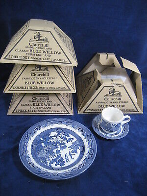 4x Churchill Blue Willow Made Staffordshire England~Dinner Plate Cup Saucer~New