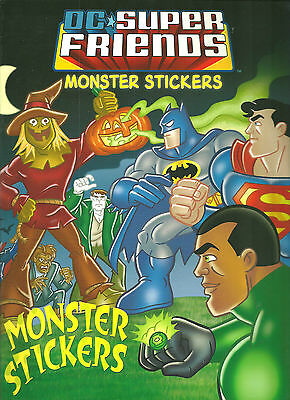 Dc Super Friends Monster Sticker Book & Activity  Warner Bro 14 Pages Free P/p