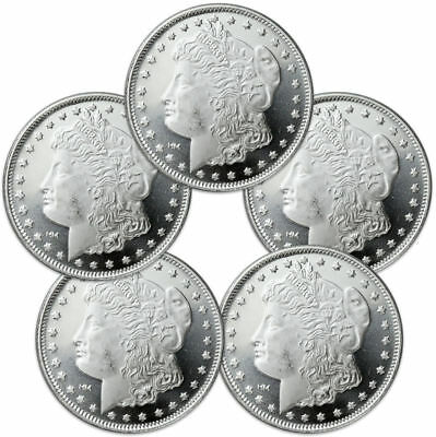 Lot of 5 - Morgan Dollar Design 1 Troy Oz .999 Fine Silver Rounds SKU31047